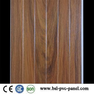 25cm 8.5mm dark wood grain T pvc wall panel